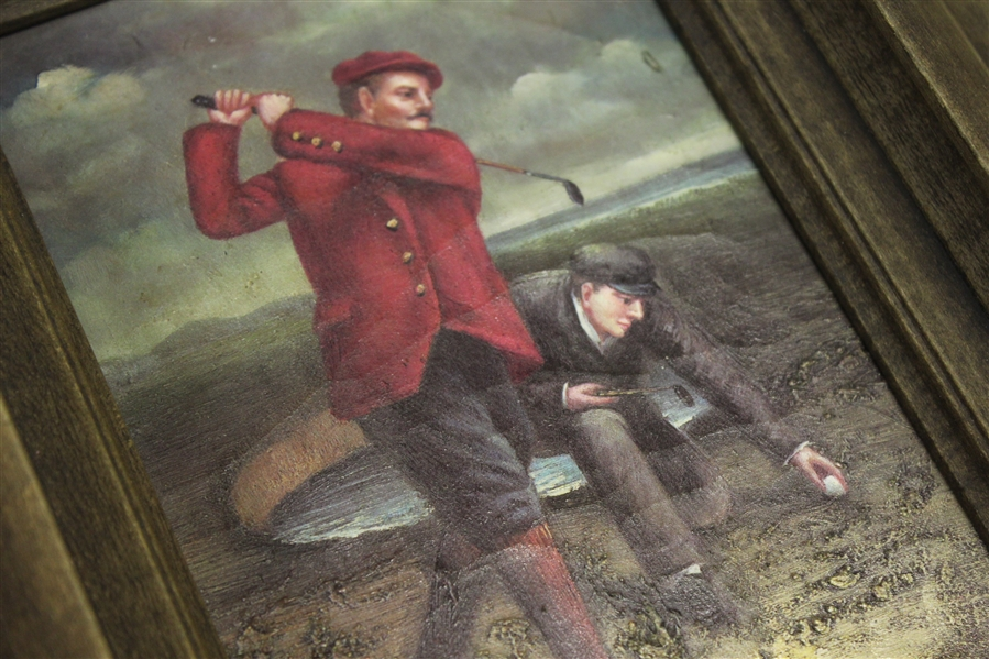 Vintage Golf Oil Painting - Post-Swing with Caddy - Framed
