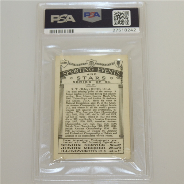 1935 R.T. (Bobby) Jones Sporting Events & Stars Cigarette Card #19 - J.A. Pattreuiouex PSA#27518242