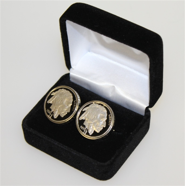 Bobby Jones Quadrilateral 1930 Buffalo Nickel Cuff Links in Box