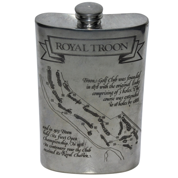Royal Troon Pewter Flask with Course Layout & Scorecard Engraved - Great Condition