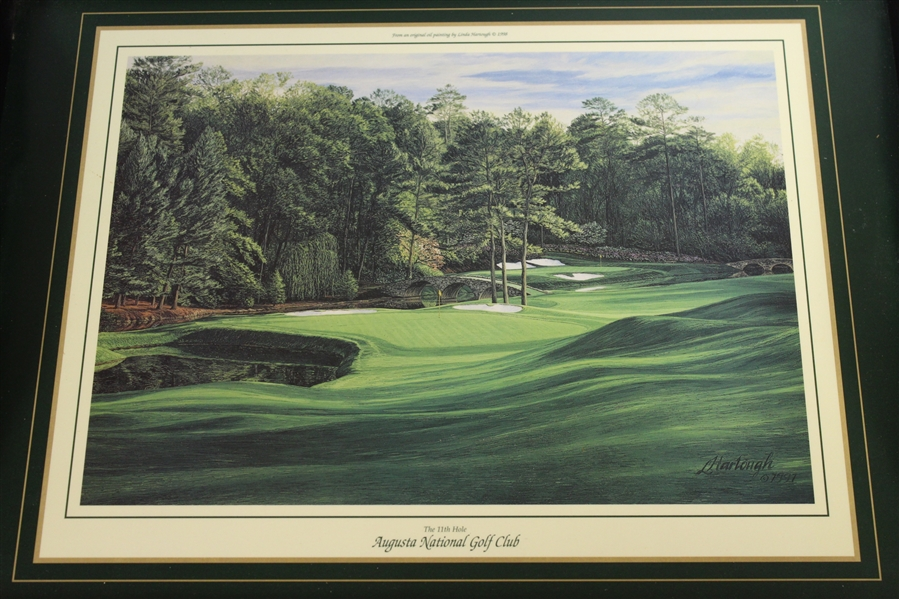 Augusta National Golf Club Wood Serving Tray - Linda Hartough 11th Hole Depicted