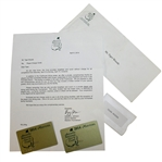 Tiger Woods Augusta National Issued 2014 Masters Credit Cards with Letter & Envelope