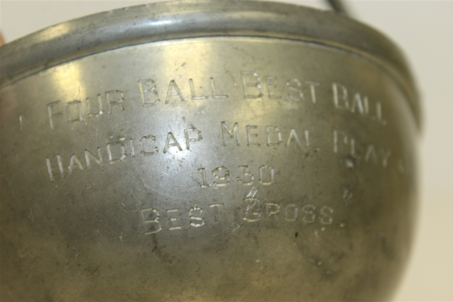 1930 Cohasset GC Four Ball Best Ball Handicap Medal Play Best Gross Pewter Cup with Tees