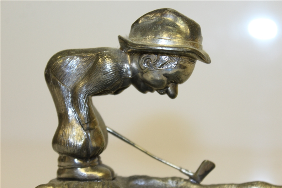 Vintage Golfer Metal Ash Tray - Looking Over Golf Ball