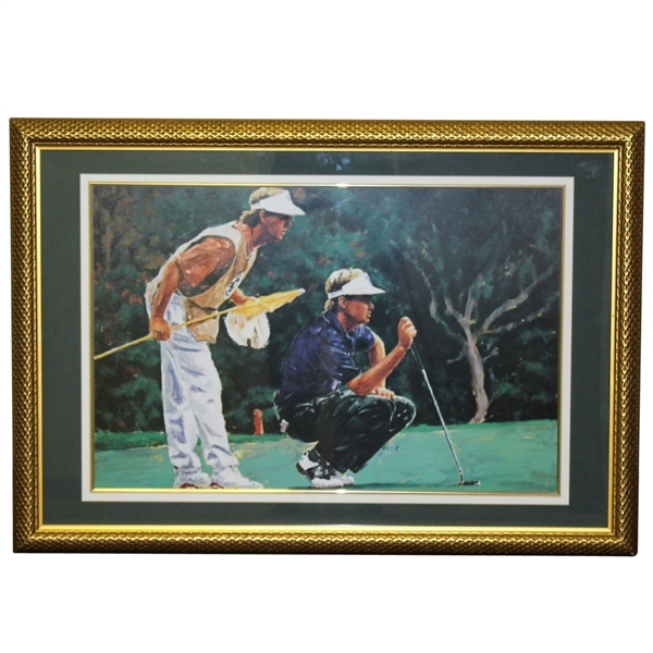 Davis Love III with Caddy Lining Up Putt Art Print - Framed