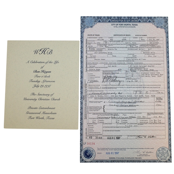 Ben Hogan's Death Certificate & a Celebration of Life Service Program