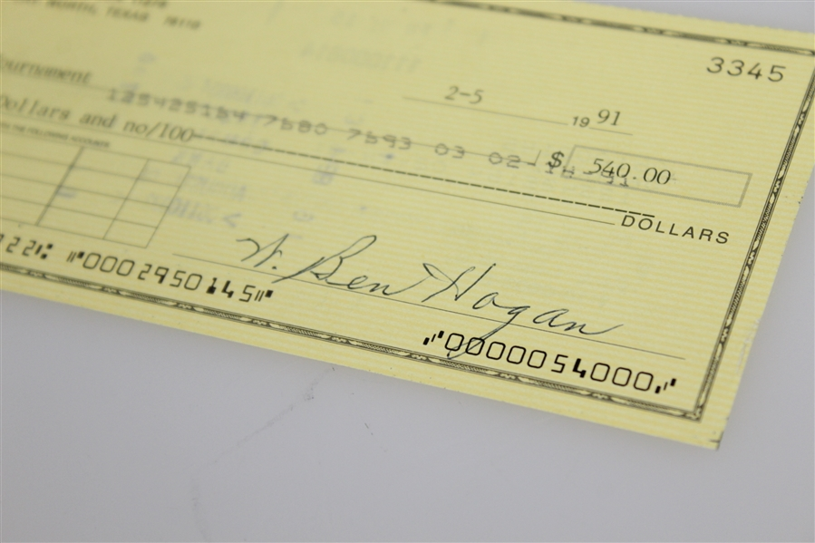 Ben Hogan's Signed Personal Check to the Masters Tournament - 1991 JSA ALOA