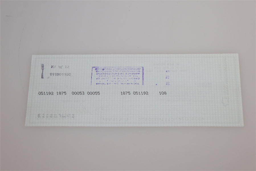 Ben Hogan's Signed Personal Check to Shady Oaks Country Club - 1992 JSA ALOA