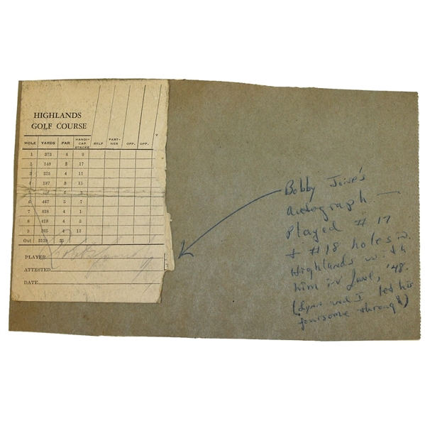 Bobby Jones Signed Scorecard - Highlands Golf Course FULL JSA #Z61966 - Rare