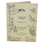 Multi-Signed 1973 Ryder Cup at The Marine Hotel North Berwick Dinner Menu JSA ALOA