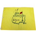 Jordan Spieth & Phil Mickelson Signed 2014 Masters Embroidered Flag JSA ALOA