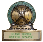 Deane Bemans 1960 World Amateur Golf Championship Contestant Badge - Merion USA