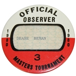 Deane Bemans 1980 Masters Tournament Official Observer Badge #3