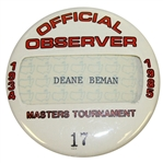 Deane Bemans 1985 Masters Tournament Official Observer Badge #17