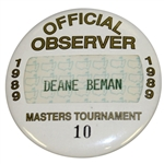 Deane Bemans 1989 Masters Tournament Official Observer Badge #10