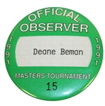 Deane Bemans 1991 Masters Tournament Official Observer Badge #15