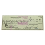 Sam Snead Signed Entry Fee Check to the USGA for 1973 US Open JSA ALOA
