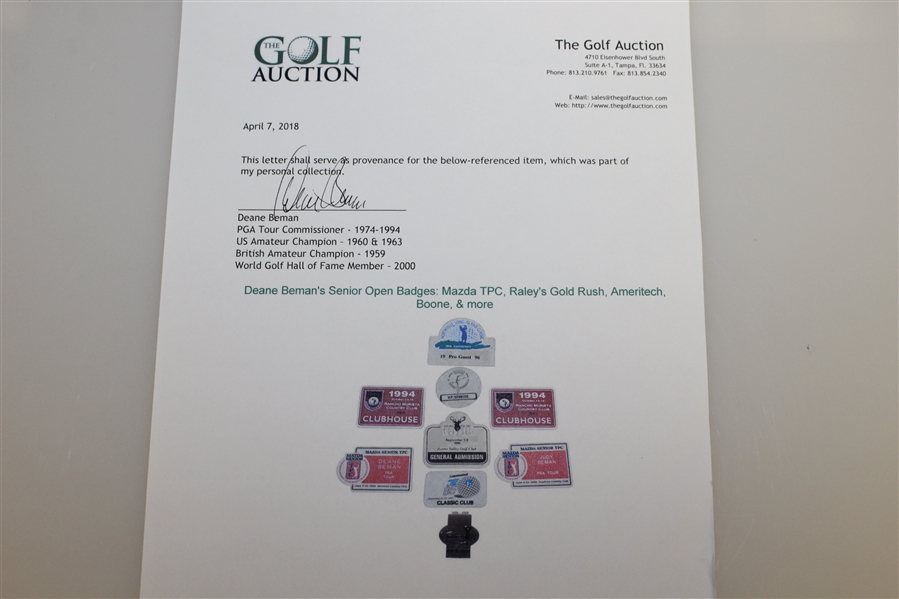 Deane Beman's Senior Open Badges: Mazda TPC, Raley's Gold Rush, Ameritech, Boone, & more