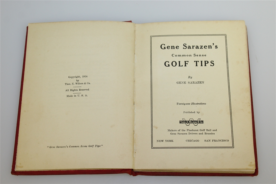 1924 'Gene Sarazen's Common Sense Golf Tips' Book Golf Book by Gene Sarazen