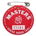 1963 Masters Tournament Series Badge #18344 - Nicklaus First Masters Win