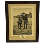 "1917 W. Dendy Sadler James Dobie Signed ""The First Tee"" Etching - Framed"