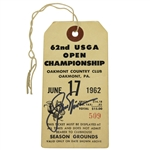 Jack Nicklaus Signed 1962 US Open at Oakmont PLAYOFF Ticket #509 JSA FULL #Z53251
