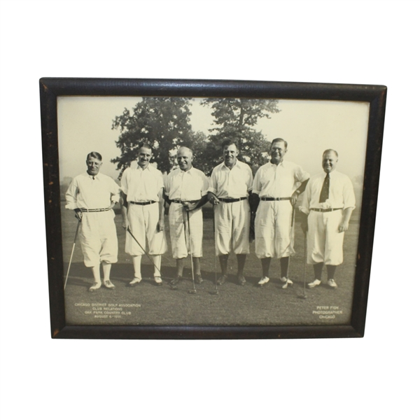 1931 Chicago District Golf Association Oak Park CC B&W Photo with Chick Evans Framed