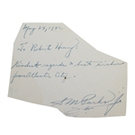 Sam Parks Signed 1942 Note from Atlantic City JSA ALOA