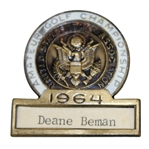 Deane Bemans 1964 US Amateur Championship Contestant Badge