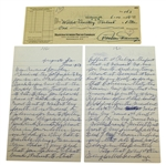 Willie Cemetery Perteet 2pg Letter with Endorsed Check - President Eisenhower Augusta Caddy JSA ALOA