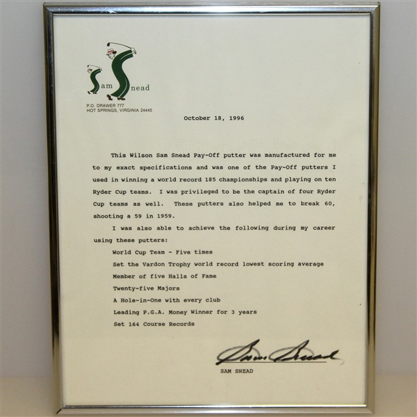 Sam Snead Personal 1950's Wilson Pay-Off Putter with Signed Letter JSA ALOA