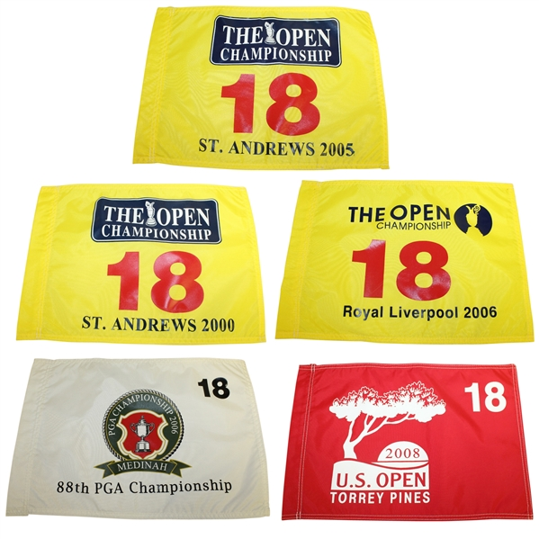 Five Tiger Woods' Victory Flags: US Open (2008), PGA (1999), & Open (2000, 2005, 2006)