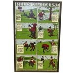 Vintage Rules of the Course Wall Plaque with Eight Depictions - Framed