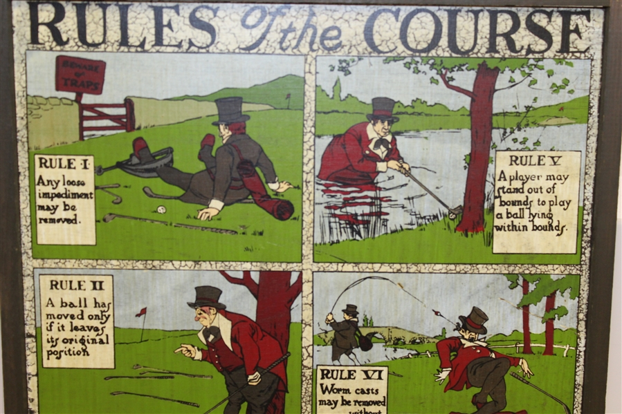 Vintage 'Rules of the Course' Wall Plaque with Eight Depictions - Framed