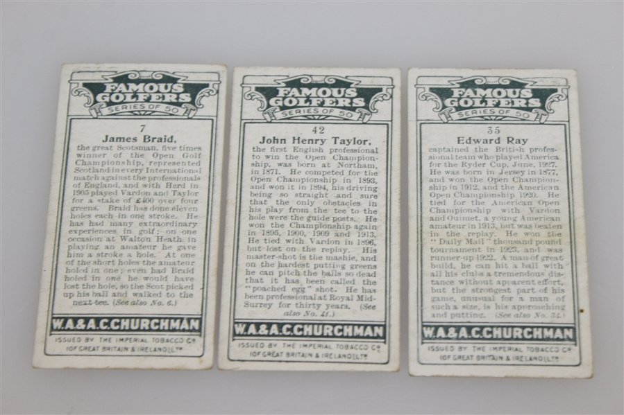 James Braid, Ted Ray, & J.H. Taylor 'Famous Golfers' Churchman's Cigarettes - Series of 50