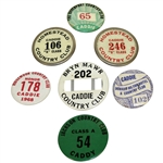 Seven Classic Caddy Badges - Homestead CC, Davenport CC, Bryn Mawr, and others