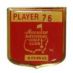 Bob Goalbys 1986 Masters Tournament Contestant Badge #76 - Jack Nicklaus 6th Masters Win