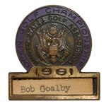 Bob Goalbys 1961 US Open at Oakland Hills Contestant Badge - Runner-Up!