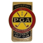 Bob Goalbys 1973 PGA Championship at Canterbury GC Contestant Badge - Jack Nicklaus Winner
