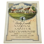 1930 US Amateur Championship at Merion Program - Bobby Jones Completes Grand Slam!
