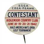 1942 USGA Hale America National Open Contestant Badge - Ridgemoor Country Club - Hogan 5th Open?