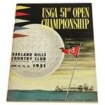 "1951 US Open Championship @ ""THE MONSTER"" Oakland Hills Program - Ben Hogan Winner"