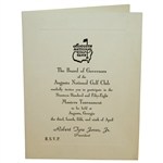 1958 Augusta National Golf Club Masters Player Tournament Invitation - Arnold Palmer Winner