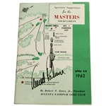 Arnold Palmer Signed 1962 Masters Tournament Spectator Guide JSA ALOA