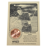Tiger Woods 2000 Sportsman of the Year Lincoln Wheat Penny Card