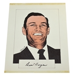 Ben Hogan Signed Original Headshot Art Piece - Also Signed by Artist JSA ALOA