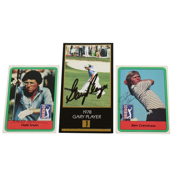 Gary Player, Hale Irwin, & Ben Crenshaw Signed Golf Cards JSA ALOA