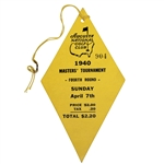 1940 Masters Tournament Sunday 4th Round Ticket #904