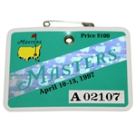 1997 Masters Tournament Series Badge #A02107 - Tiger Woods First Masters Win