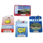 1995, 1996, 1998, & 1999 Masters Tournament Series Badges - Crenshaw, Faldo, OMeara, & Olazabal